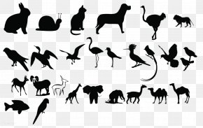 Animal Silhouettes - Black And White Animal Poster PNG