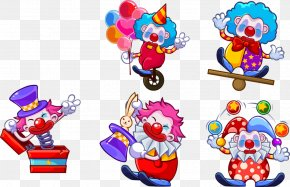 Five Different Postures Cartoon Clown - Joker Cartoon Illustration PNG