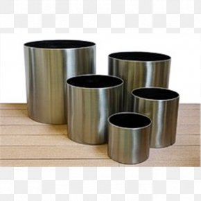 Brushed Steel - Cylinder Flowerpot Brushed Metal Stainless Steel PNG
