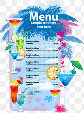 Menu - Cocktail Juice Blue Lagoon Menu Drink PNG