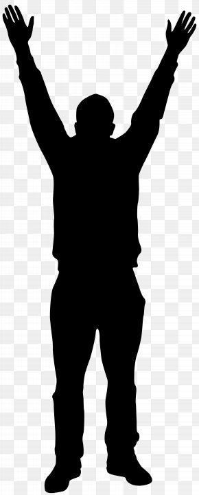Man With Hands Up Silhouette Clip Art Image - Silhouette Man Clip Art PNG