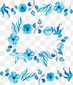 Sky Blue Watercolor Pattern - Floral Design Cut Flowers Petal Blue Leaf PNG