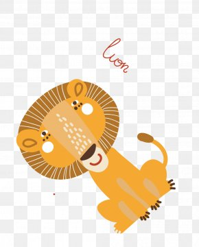 Flat Cartoon Animals Lion - Lion Animal Cartoon Clip Art PNG