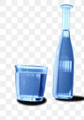 Blue Fantasy Water Bottles And Cups - Water Glass Bottle PNG