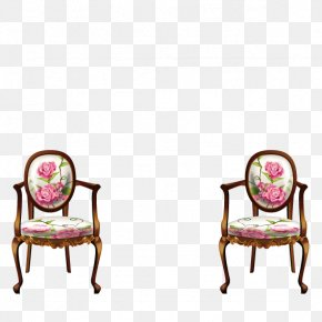 Pink Roses Decorated Armchair - Pink Beach Rose Wallpaper PNG