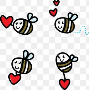 Cartoon Love Bees - Honey Bee Doodle Clip Art PNG