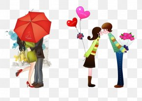 A Couple Kiss - Falling In Love Boyfriend Romance Friendship PNG