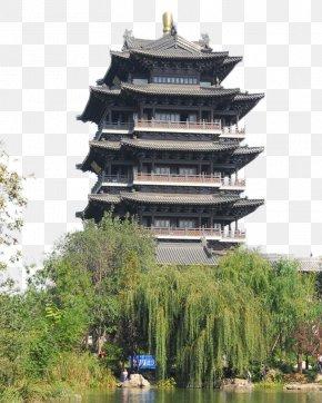 Jinan Daming Lake Architecture - Daming Lake Baotu Spring Qushuiting Street Chao Ran Lou Chinese Garden PNG