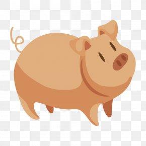 Cartoon Farm Animals - Domestic Pig Vector Graphics Drawing Image PNG