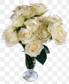 White Roses Transparent Vase Bouquet - Flower Bouquet Rose Clip Art PNG