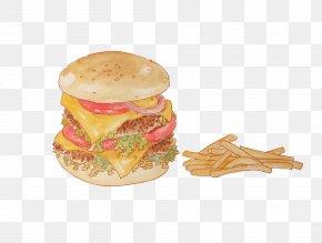 Painted Burger And Fries - Hamburger Cheeseburger French Fries Breakfast Sandwich Veggie Burger PNG