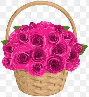 Basket With Roses Transparent Clip Art - Garden Roses Centifolia Roses Clip Art PNG