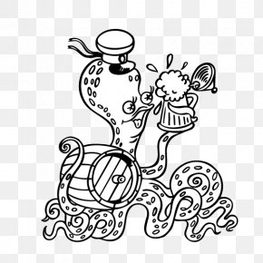 Hand Painted,beer,Jellyfish - Jellyfish Black And White Animal Clip Art PNG