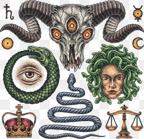 Vector Antelope Horn And Baby Snake Tattoo - Old School (tattoo) Flash Occult PNG