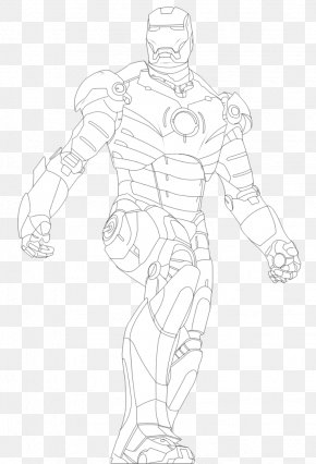 Iron Man Drawing - Line Art Figure Drawing Sketch PNG