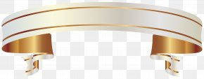 White And Gold Banner Clipart Picture - Ribbon Banner Gold Clip Art PNG