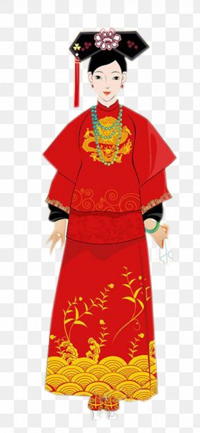 Qing Dynasty Woman Wearing A Red Dress - Qing Dynasty Ming Dynasty Clothing Kimono PNG