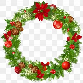 Christmas Decoration - Wreath Christmas Decoration Garland Clip Art PNG