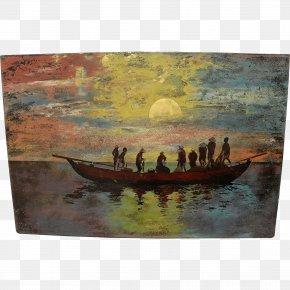 Painting - Painting Sampan Art Boat PNG