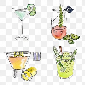 Cocktail - Cocktail Garnish Juice Watercolor Painting Drawing PNG