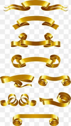 Gold Ribbon Banner Vector Material - Web Banner Ribbon Euclidean Vector PNG