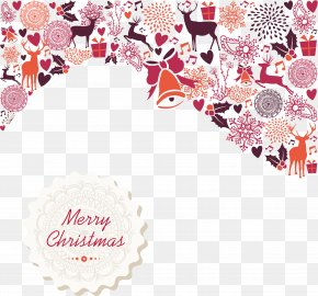 Vector Exquisite Pattern Christmas Card - Christmas Card Illustration PNG