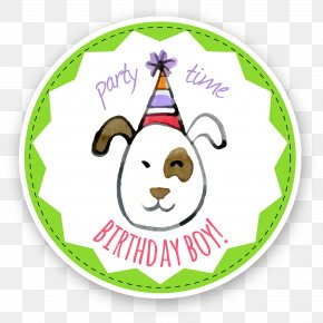Child Birthday Party Label - Dog Puppy Birthday Greeting Card Party PNG