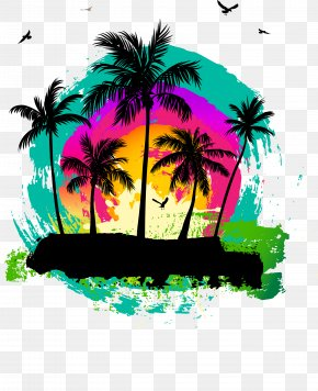 Vector Coconut Grove Material PNG