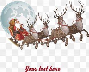Christmas Reindeer And Santa Claus - Santa Claus Parade Clip Art PNG