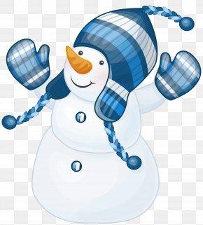 Snowman With Blue Hat Clipart - Snowman Clip Art PNG