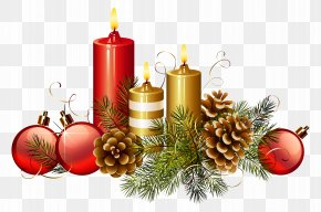 Christmas Candles Clipart Image - Soy Candle Christmas Decoration Christmas Tree PNG