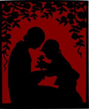 Vintage Roses Images - Child Parent Silhouette Clip Art PNG
