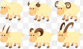 6 Cartoon Sheep Design Vector Material - Sheep Goat Cattle Clip Art PNG