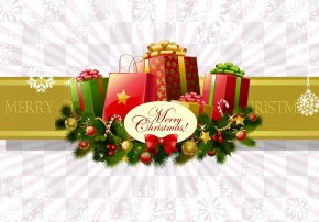 Merry Christmas - Text Floral Design Christmas Ornament Greeting Card Sticker PNG