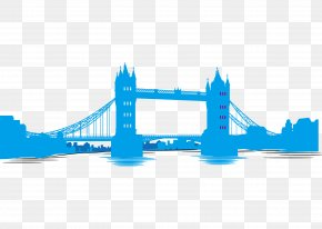 Blue Silhouettes Of London Tower Bridge Vector - London Bridge Tower Of London Tower Bridge Millennium Bridge, London Big Ben PNG