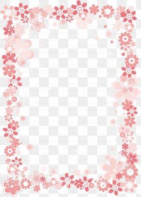 Pink Floral Border - Flower Paper Pink Clip Art PNG