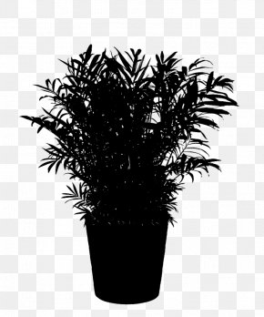 M Flowerpot Houseplant - Palm Trees Black & White PNG