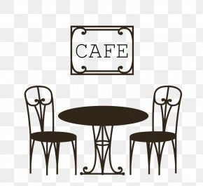 Black Cafe Chairs Vector Material Download - Coffee Table Cafe Chair PNG