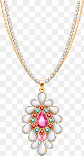 Golden Concise Necklace - Locket Necklace Jewellery Diamond PNG