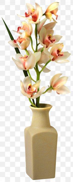 Orchid In Vase Clip Art Image - Vase Flower Clip Art PNG