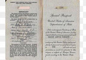 Passport - United States Passport Identity Document Second World War PNG