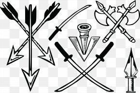 Arrow Arrow Ax Knife Cold Weapons Vector - Tattoo Knife Weapon PNG