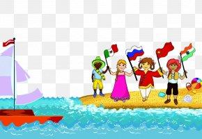 Children Playing Beach - Cartoon Child Illustration PNG