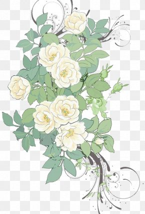 White Rose Flowers Background Material - Flower Painting Pattern PNG