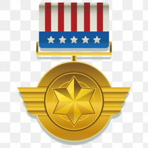 Vector Gold Star Medal Of Honor - Gold Medal Order Euclidean Vector Adobe Illustrator PNG