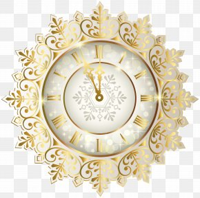 Gold New Year Clock Clipart Image - Clock Of The Long Now New Year Clip Art PNG