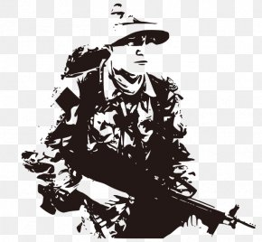 Black And White Hand-drawn Field Army Man - Wall Decal Army Soldier Military PNG