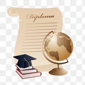 Dr. Cap And Books Globe - Graduation Ceremony Diploma Square Academic Cap Clip Art PNG