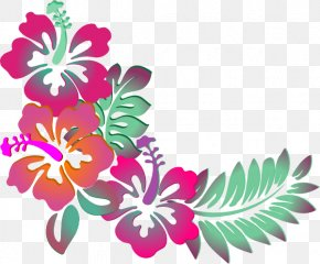 Watercolor Tropical Flowers - Hawaiian Hibiscus Shoeblackplant Flower Clip Art PNG