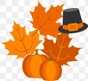 Thanksgiving Leaves With Pumpkin Hat - Calabaza Pumpkin Pie Turkey Thanksgiving PNG